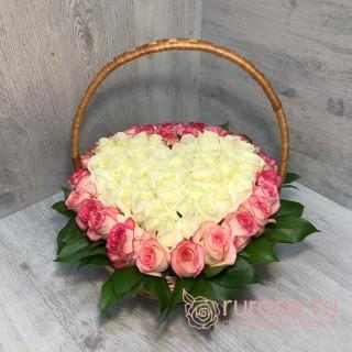 """Корзина с розами """"Мое сердце"""""""