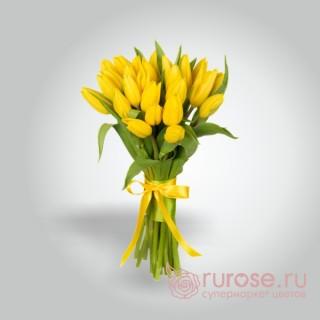 """Букет из 25 тюльпанов """"Желтенький"""""""