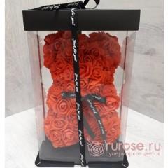 Мишка из роз красный 25 см