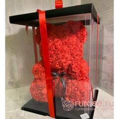 Мишка из роз красный 40 см