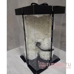 Мишка из роз белый 25 см