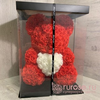 Мишка из роз с сердцем красный 40 см