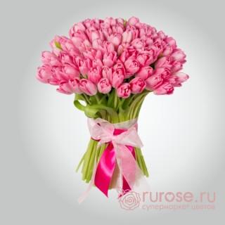 """Букет из 55 тюльпанов """"Розовый туман"""""""