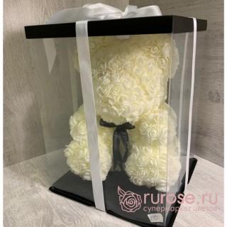 Мишка из роз белый 40 см