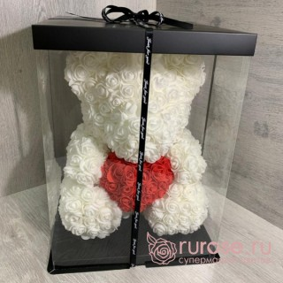 Мишка из роз с сердцем белый 40 см