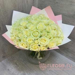 Букет из 51 белой розы «Глорисса»