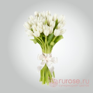"""Букет из 25 тюльпанов """"Беленький"""""""