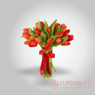 """Букет из 25 тюльпанов """"Красненький"""""""