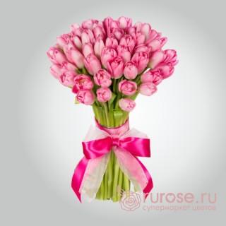 """Букет из 45 тюльпанов """"Розовое облачко"""""""