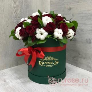 """Розы в коробке """"Страстный вечер"""""""