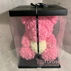 Мишка из роз с сердцем розовый 40 см